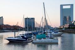 小游艇船坞位于马德罗港,布宜诺斯艾利斯 库存照片