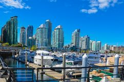 小游艇船坞和现代大厦在温哥华,BC 库存照片