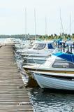小游艇船坞在夏天 图库摄影