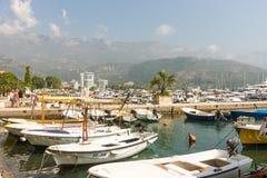 小游艇船坞在布德瓦,黑山 图库摄影