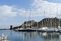 小游艇船坞在撒丁岛 图库摄影
