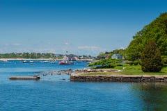 小游艇船坞在格洛斯特马萨诸塞 库存图片