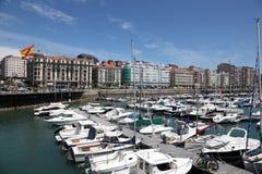 小游艇船坞在桑坦德,坎塔布里亚,西班牙 免版税库存图片