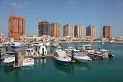 小游艇船坞在波尔图阿拉伯半岛。多哈 库存图片