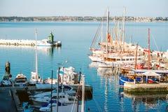 小游艇船坞在皮兰镇在斯洛文尼亚 免版税库存图片