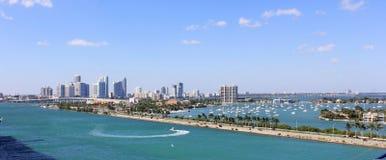 小游艇船坞在迈阿密佛罗里达 免版税库存照片