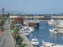 小游艇船坞在巴塞罗那 免版税库存照片