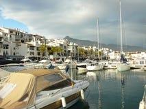 小游艇船坞在Puerto Banus,西班牙 库存图片