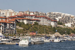 小游艇船坞在StVlas,保加利亚 免版税库存图片