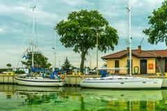 小游艇船坞在Swinoujscie 库存图片