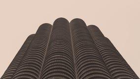 小游艇船坞城市大厦在芝加哥 免版税库存照片