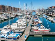 小游艇船坞斯海弗宁恩在海牙,荷兰 库存图片