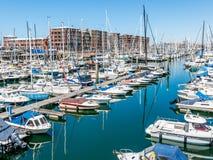 小游艇船坞斯海弗宁恩在海牙,荷兰 免版税库存照片