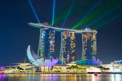 小游艇船坞海湾光展示 新加坡 免版税库存图片