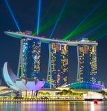 小游艇船坞海湾光展示 新加坡 免版税库存照片