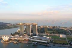 小游艇船坞海湾在新加坡铺沙旅馆和ArtScience博物馆 免版税库存图片