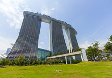 小游艇船坞海湾在新加坡铺沙豪华旅馆 图库摄影