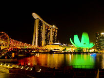 小游艇船坞海湾夜,新加坡 免版税图库摄影
