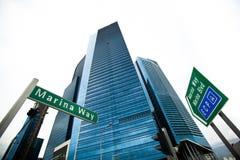 小游艇船坞海湾摩天大楼商业区在新加坡 免版税图库摄影