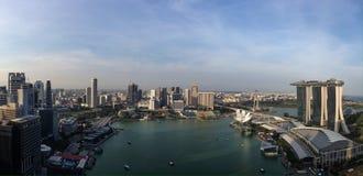 小游艇船坞海湾新加坡全景视图  库存照片