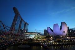 小游艇船坞海湾沙子和艺术科技馆在新加坡 免版税库存图片
