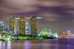 小游艇船坞海湾沙子新加坡视图  免版税图库摄影