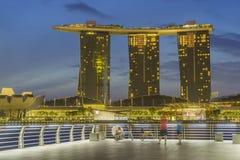 小游艇船坞海湾沙子新加坡视图  免版税库存照片