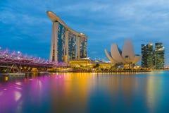 小游艇船坞海湾沙子新加坡视图  免版税库存图片