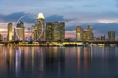 小游艇船坞海湾沙子,新加坡- 2017年5月24日:新加坡飞行物与 免版税库存照片