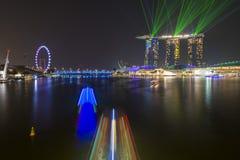 小游艇船坞海湾沙子,新加坡2015年10月12日:嘘美丽的激光 免版税库存图片