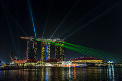 小游艇船坞海湾沙子,新加坡2015年11月05日:美丽的激光s 免版税库存照片