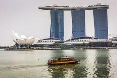 小游艇船坞海湾沙子,新加坡2015年11月05日:美好的天在 库存照片