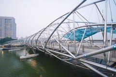 小游艇船坞海湾沙子,新加坡2015年10月12日:螺旋桥梁我 免版税库存图片