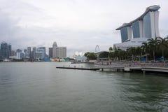 小游艇船坞海湾铺沙旅馆视图新加坡 2017年12月15日 库存照片