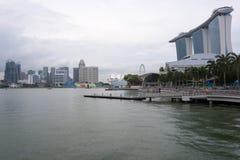 小游艇船坞海湾铺沙旅馆视图新加坡 2017年12月15日 图库摄影