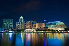 小游艇船坞海湾,新加坡在Octob的晚上 免版税库存图片