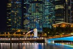 小游艇船坞海湾,新加坡夜视图  免版税库存图片