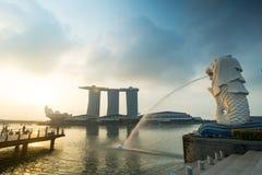 小游艇船坞海湾,新加坡- 2015年3月, 14 :清早Merlion 图库摄影