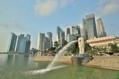 小游艇船坞海湾,新加坡- 2015年3月, 14 :清早Merlion 库存照片