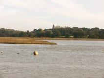 小游艇船坞漂浮在水场面风景的球浮体 免版税图库摄影