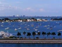小游艇船坞的看法在迈阿密 图库摄影