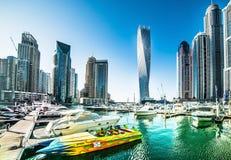 小游艇船坞迪拜 免版税库存图片