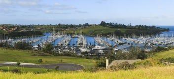 小游艇船坞,奥克兰,新西兰全景  免版税图库摄影