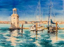 小游艇船坞,威尼斯,意大利 库存照片
