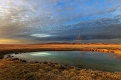 小湖在Gallocanta,阿拉贡,西班牙 库存图片