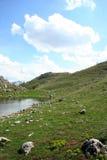 小湖的山 免版税图库摄影