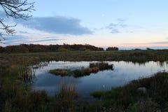 小湖的晚上秀丽 库存图片