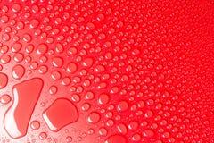 小滴在红色,表面无光泽的背景的水阐明与精美光 库存照片