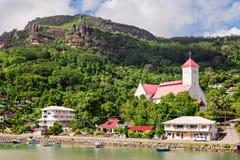 小瀑布区的, Mahe海岛,塞舌尔群岛圣安德鲁教会 免版税库存图片
