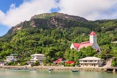 小瀑布区的, Mahe海岛,塞舌尔群岛圣安德鲁教会 免版税库存照片